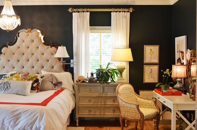 black walls in the bedroom + amazing headboard, love the quirky style