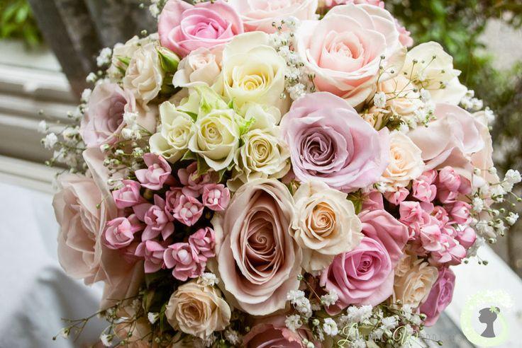 Pastel wedding bouquet of roses, bouvardia and gypsophila - dusky pink wedding bouquet - Laurel Weddings www.laurelwedding.com