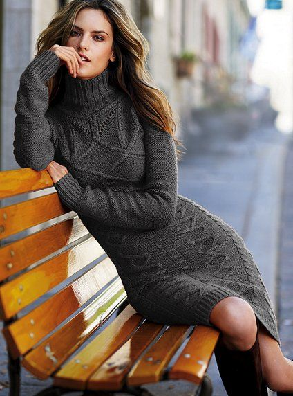Long-sleeve Turtleneck Cable Sweaterdress - Victoria's Secret.    My goodness! I want this dress so badly!