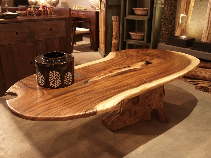 Oval Coffee Table In Suar Wood And Teak Root Decoration Pinterest Oval Coffee Tables Teak
