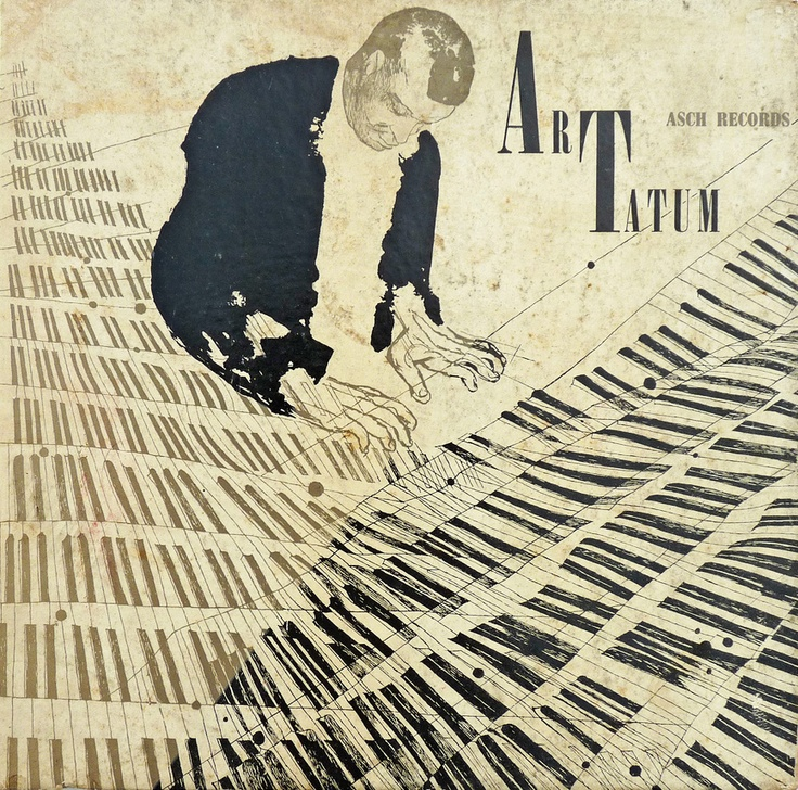 David Stone Martin -  Despite having a very busy piano illustration, the typography on this piece is still striking.