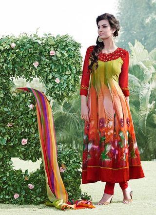 Multicolored Print Work Designer Anarkali Salwar Suit http://www.angelnx.com/Salwar-Kameez