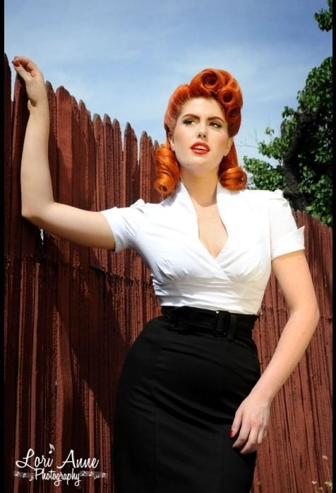 DORIS MAYDAY 50's white top with black pencil skirt. Love those red victory rolls!