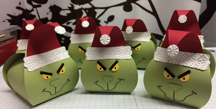 2015 Grinch curvy boxes. CS Color Pear Pizzazz ,  filled with  the green Hershey kisses from the holiday bag to put inside.  Created by Patricia  Abi-Hassan