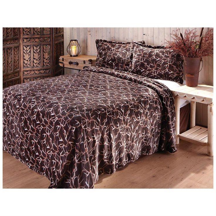 Camping Hunting Deer Antler Bedding Blanket Comforter Sham Quilt Bed  Coverlet
