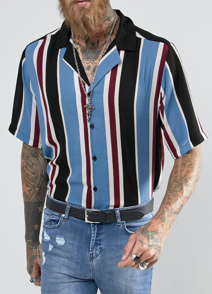 Reclaimed Vintage Inspired Revere Shirt In Stripe Reg Fit  from ASOS (men, style, fashion, clothing, shopping, recommendations, stylish, menswear, male, streetstyle, inspo, outfit, fall, winter, spring, summer, personal)