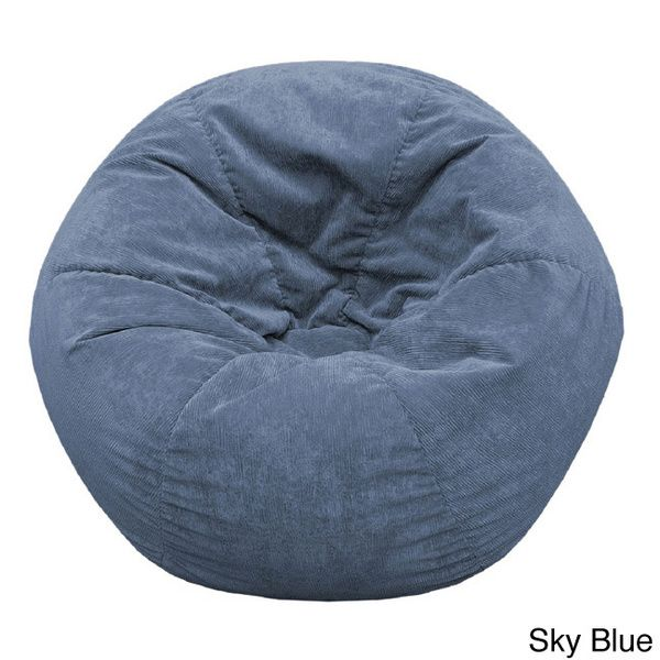 Gold Medal Adult Sueded Corduroy Bean Bag Chair Sky Blue Microfiber
