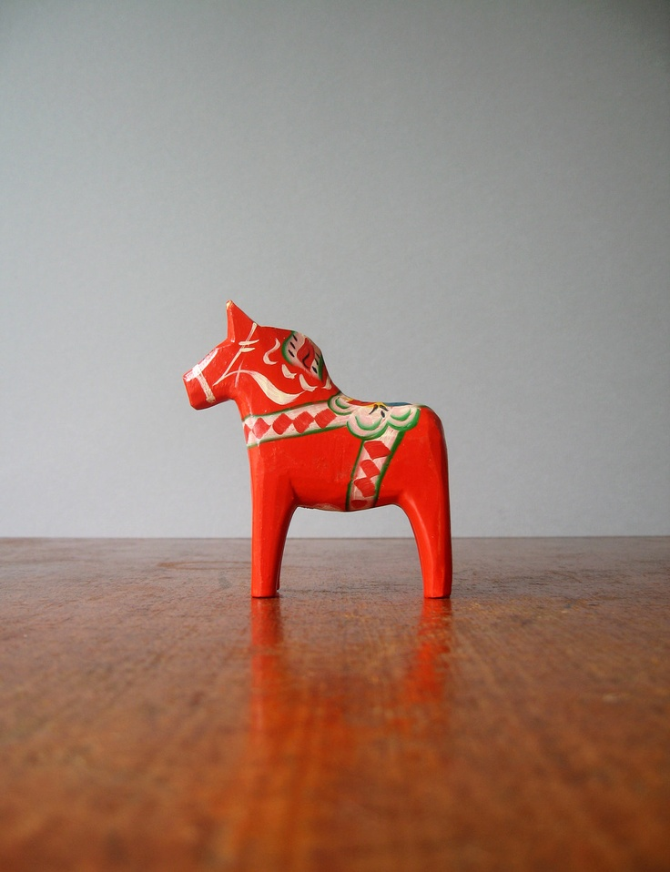 Vintage Swedish Dala Horse - Red / Orange via Etsy.  I have this one- doesn't everyone? I made the decision years ago NOT to collect Dala horses or it would never stop.