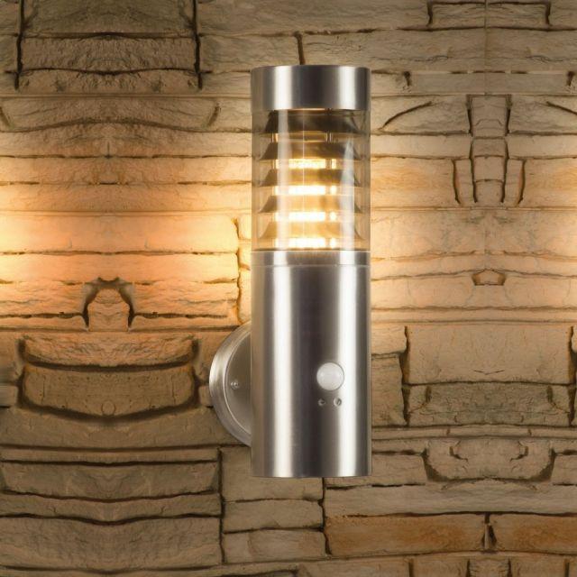 LED Wandleuchte mit Bewegungsmelder / Bewegungssensor, Außenleuchte, Wandlampe, Edelstahl, IP44, E27-230V, (Form:W29)