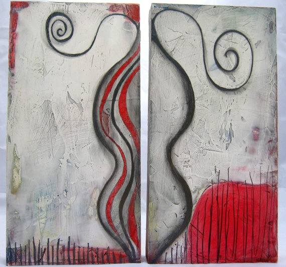 Mixed media diptych abstract paintingHoly Smoke by BlissfulArts, $295.00