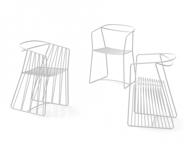 The Limeryk collection is composed of a table with a Corian top and three types of metal chairs of which each has its own individual character. The first design is the simplest, modern and unobtrusive one. The second design is fashion forward, with a surprising seat form. The third chair is similar in style to chairs found in cafes of the 60s. The collection is a return to the crazy spirit of the 60s, not just in design.