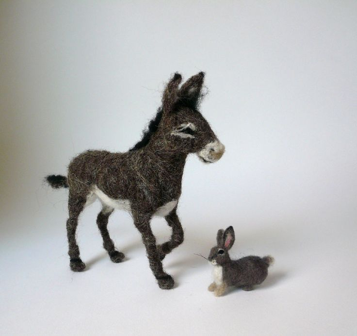 Needlefelted donkey and bunny. https://www.facebook.com/pages/Elinas-Felting-Art/141019159288321
