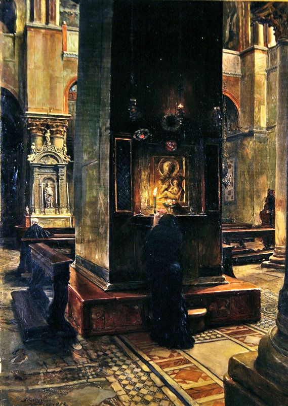 The Madonna del Bacio at San Marco, Venice, 1882 (oil on canvas) by Jean-Louis Ernest Meissonier