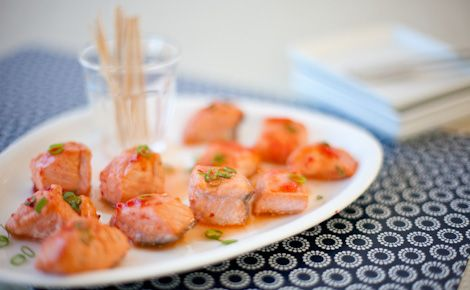 Epicure's Glazed Red Pepper Jelly Drunken Salmon