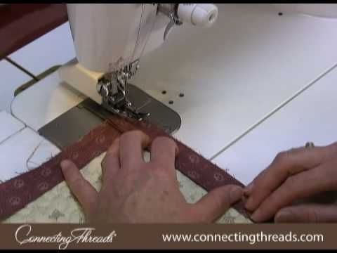 Quilt binding tutorial. Just used this to bind my first quilt. Watched once through, then paused and worked step by step with the video. Easy!