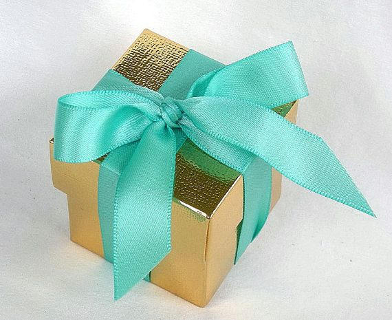 Favor Boxes Gold or Silver Metallic n Turquoise Aqua Blue Wedding Reception Baby Shower 2 x 2 x 2 w Lids and Ribbon Any Color Custom Ribbon