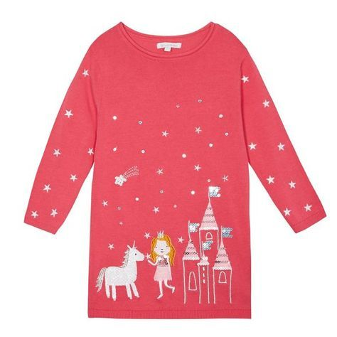 This tunic jumper from bluezoo will make a pretty update to a girl's smart-casual collection. Perfect for teaming with tights, it features a cute princess and unicorn embroidery and is finished with sequin detailing.