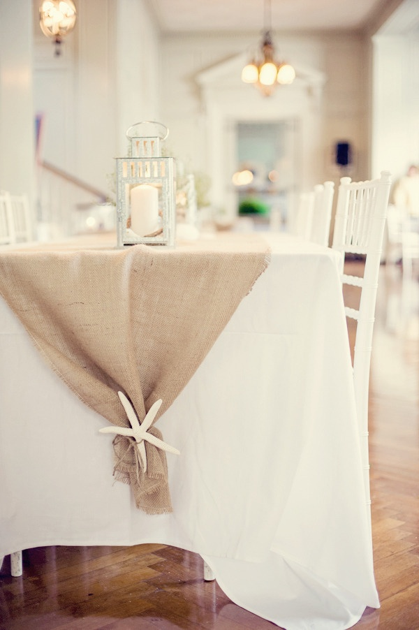 Kind Of Love This   Burlap Table Runner And White Starfish Accent   Simple  Decor