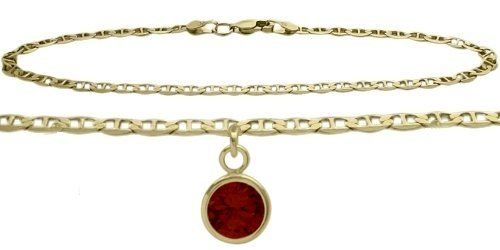 14K Yellow Gold Mariner Anklet with Genuine Garnet Round Charm -- You can find out more details at the link of the image. (This is an Amazon Affiliate link)