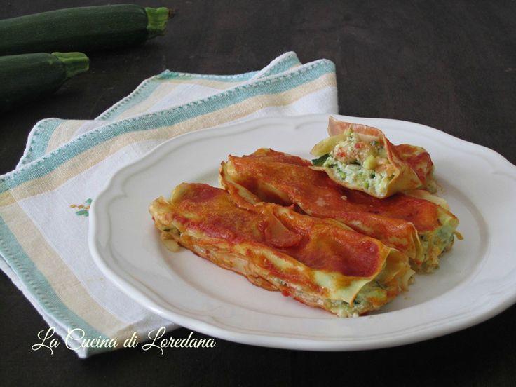 Un primo piatto ricco e squisito per rendere speciale anche un giorno normale: i Cannelloni ripieni con ricotta e zucchine