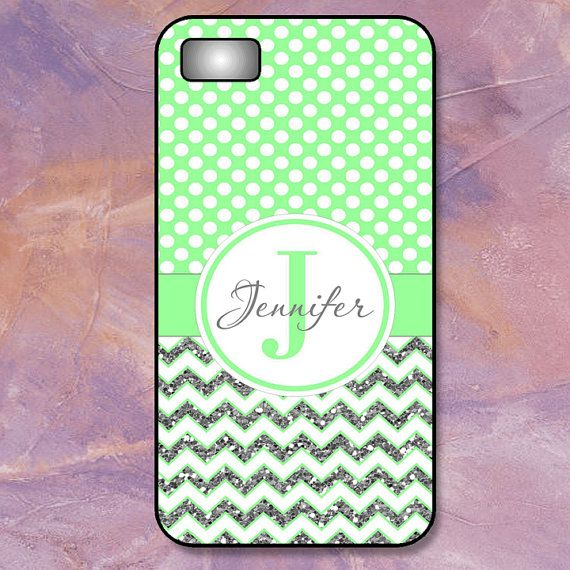 Monogram iPhone 4/4S - 5/5S - 5C- 6 - Silver Glitter Chevron & White Dots on Mint Green (Not Real Glitter)  Plastic, Rubber, Tough Case