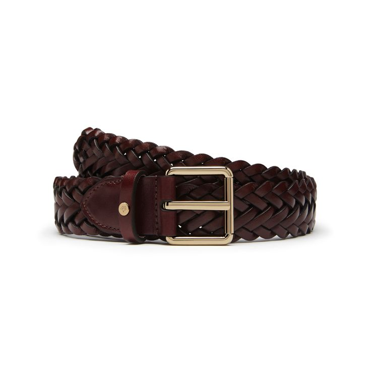 Mulberry - 30mm Braided Belt in Oxblood Double Plait Natural Leather