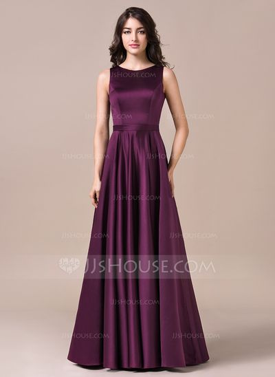 A-Line/Princess Scoop Neck Floor-Length Zipper Up Covered Button Regular Straps Sleeveless No Grape Spring Summer Fall Winter General Plus Satin Bridesmaid Dress