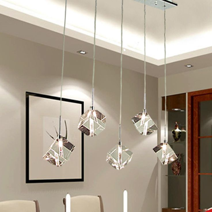 Great T Transparent Crystal LED Dining Room Bar Pendant Light Modern Fashion Lamps  For Home Living Room