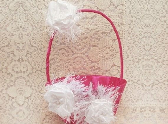 160 best flower girl baskets and petals images on pinterest flower flower girl basket pink flower girl basket hot by idodoodads 2895 mightylinksfo Images