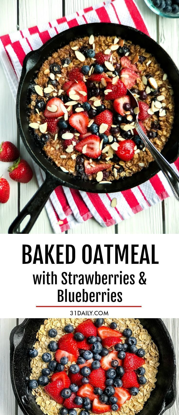 Strawberry Baked Oatmeal With Blueberries 31 Daily Rezept Essen Susses At Least