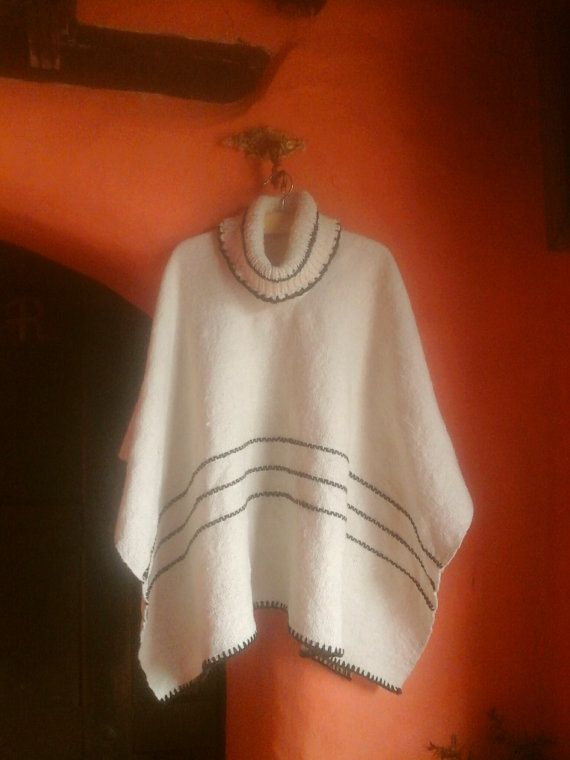 Hand Woven Turtle Ruana / 100% Pure Wool/Natural/ by CasaLunaCo