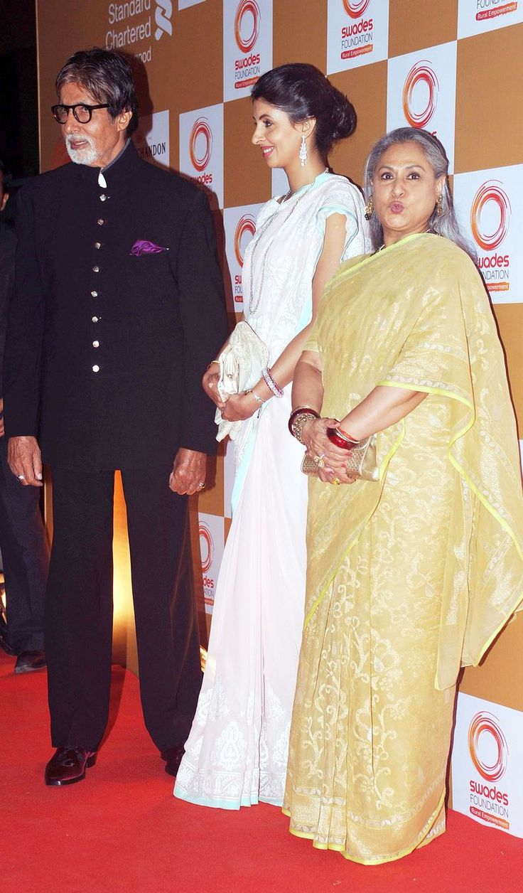 Amitabh Bachchan and Jaya Bachchan with daughter Shweta Nanda at a fund raising event hosted by Swades Foundation. #Style #Bollywood #Fashion #Beauty
