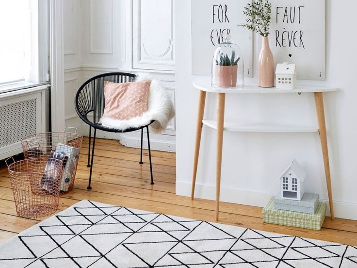 Scandinave a collection of ideas to try about home decor lamps chairs and - Tapis design noir et blanc ...