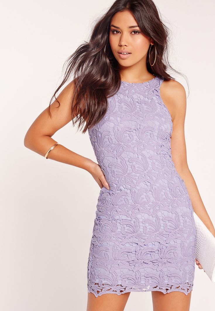 Lace dresses create a dreamy-esque edge to your look, so make sure you're adding a whimsical twist in your wardrobe. This dress features a figure-hugging bodycon fit, lavish lace detailing and a sugary lilac hue to make sure all eyes are on...