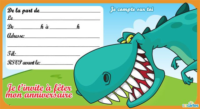 Invitation anniversaire Dinosaure   Invitation anniversaire, Cartes invitation anniversaire enfant