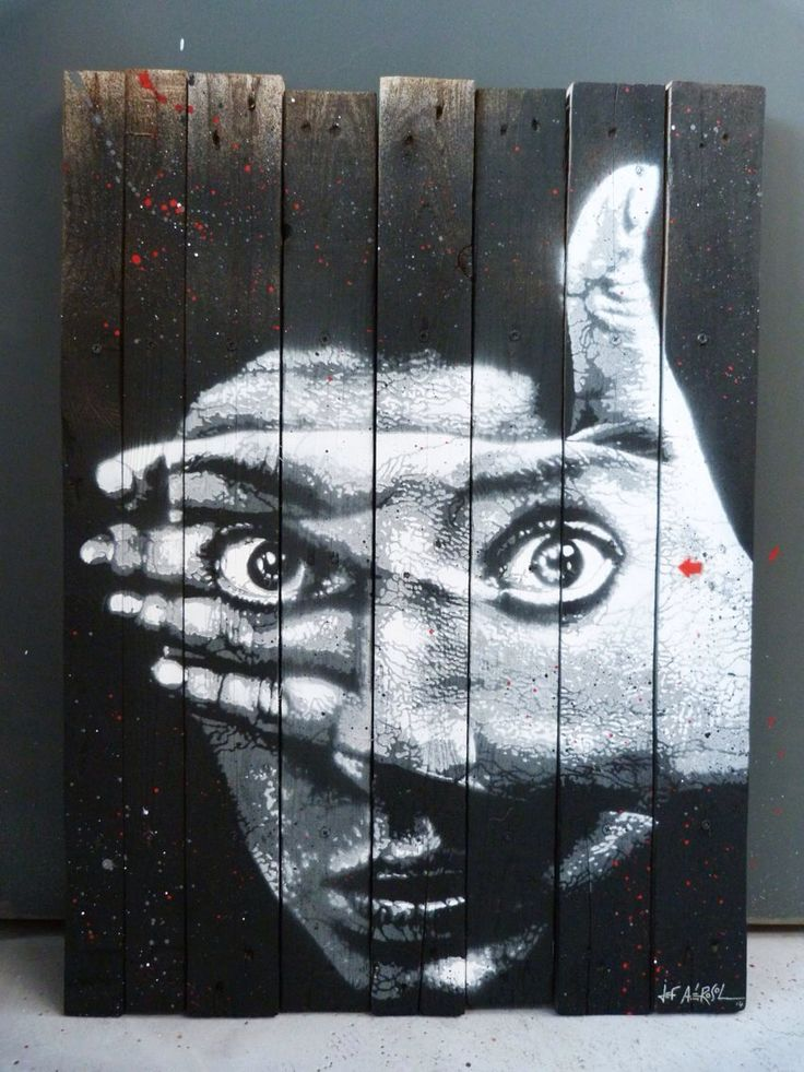 """^by Jef Aerosol - New piece on wood - For solo show """"Anony(fa)mous"""" in Rome, Italy - 01.06.2014"""