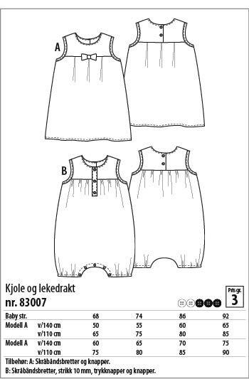 Kjole og lekedrakt - 83007 - Stoff & Stil