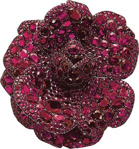 Ruby Camellia  brooch by JAR, Lily Safra Collection 2003, Christie's