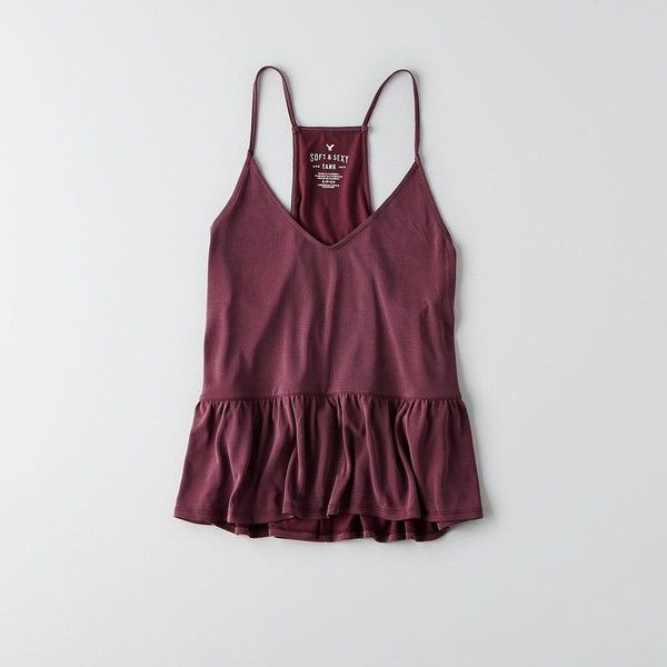 AEO Soft & Sexy Babydoll Tank ($19) ❤ liked on Polyvore featuring maroon and american eagle outfitters