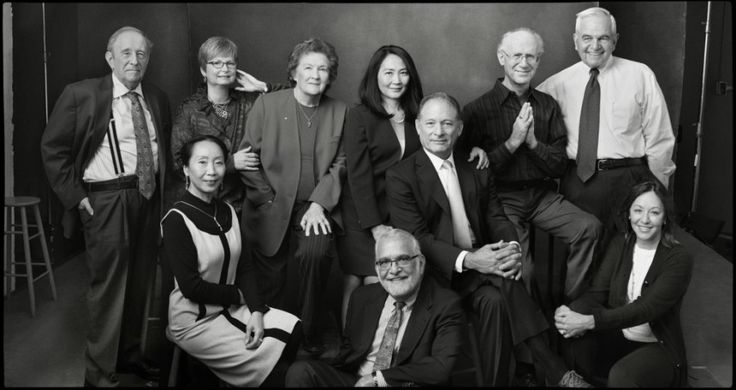 """Leibovitz's """"Vaccine Heroes,"""" aka the 2017-2018 vaccination awareness campaign """"The Art of Saving a Life (ASAL),"""" shows the various people connected with monumental changes in vaccines, from polio to malaria. Pictured: (top, l to r) Dr. Stanley Plotkin, Deborah Sabin, Dr. Ruth Bishop, Dr. Kim Lee Sim, Dr. Stephen Hoffman, Dr. Peter Salk and Dr. Marc Laforce. Bottom (l to r): Dr. Xiao Yi-Sun, Dr. Peter Paradiso and Jeryl Hilleman."""