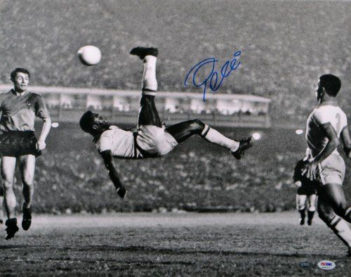 Pele Autographed Photo - 16x20 Bicycle Kick - ITP - PSA/DNA Certified - Autographed Soccer Photos by Sports Memorabilia. $449.99. Pele Signed Photo - 16x20 Bicycle Kick - PSA ITP. Every item offered by Sportsmemorabilia is guaranteed 100% authentic. Items like this gain value over time, making it a good buy at a good price. A+ quality signature. We love pieces like this since Pele's killer stats speak for themselves. This certified piece comes from a rare official signing ...