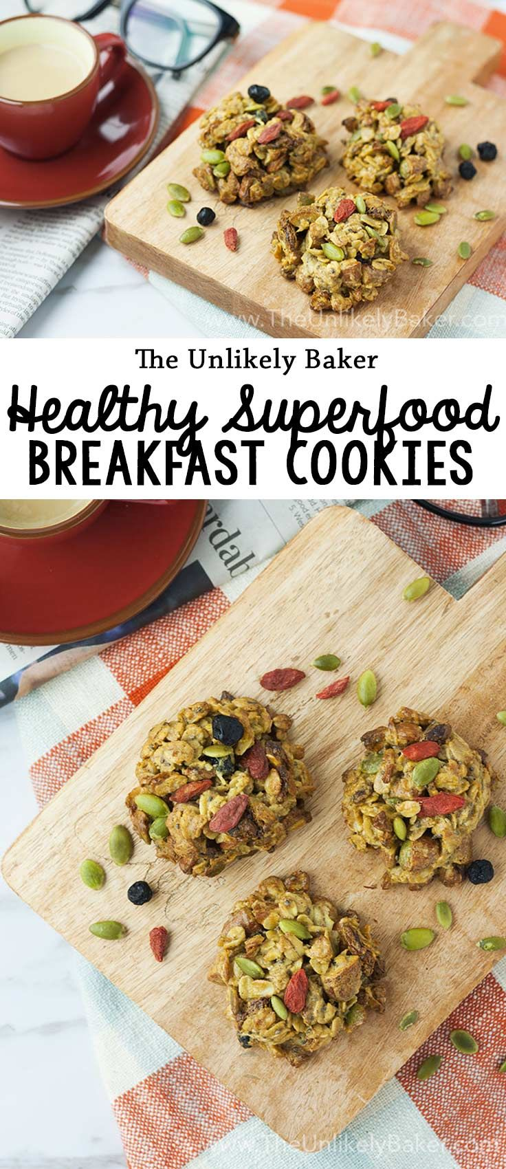 [VIDEO] These superfood breakfast cookies are packed with ingredients like goji berries and chia seeds. Delicious and good for you! #recipes #breakfast #cookies  #healthy #baking #superfoods #videorecipe