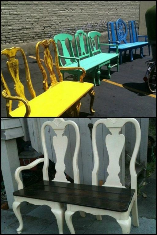Build a garden bench from two old dining chairs! Head over to our album to see different versions of this creative idea and be inspired to make your own. :)