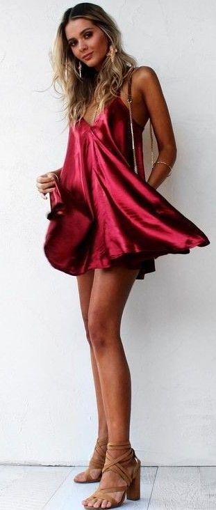 Red Satin Dress                                                                             Source