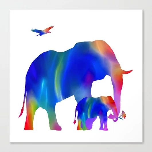 Society6 - elephant mom and baby taking a stroll