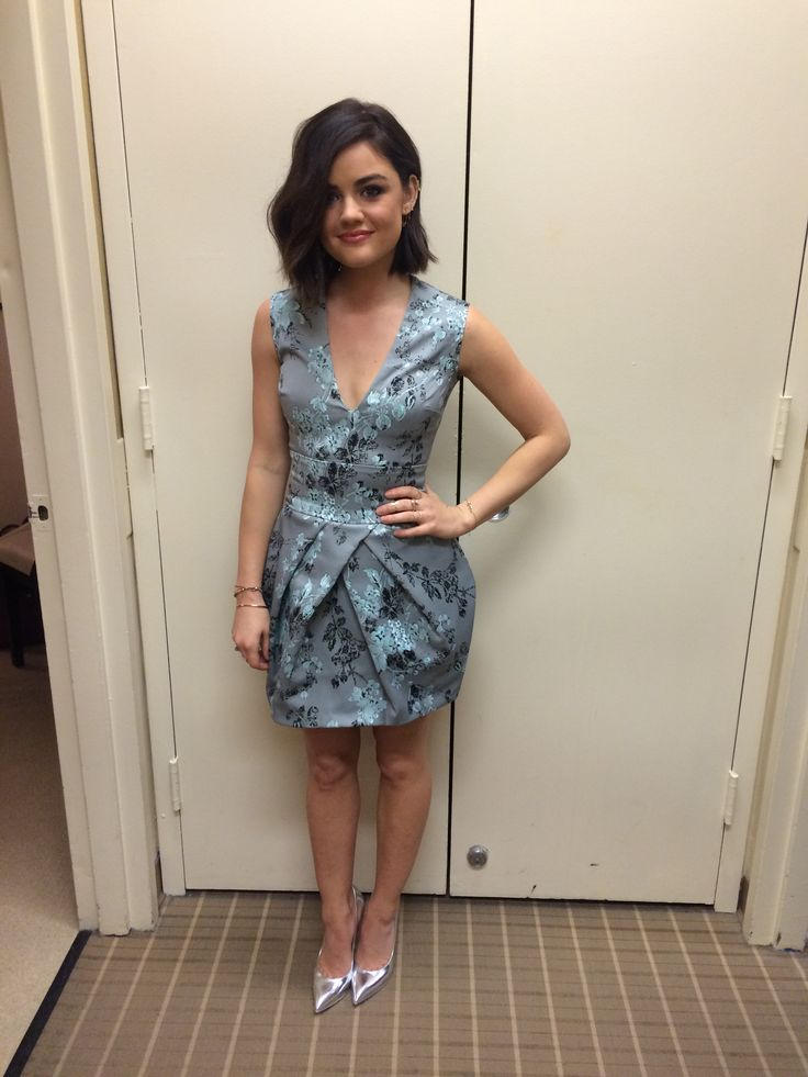Pretty Little Liars' Lucy Hale in a Vera Wang dress and silver Casadei heels. LIVE with Kelly and Michael Fashion Finder