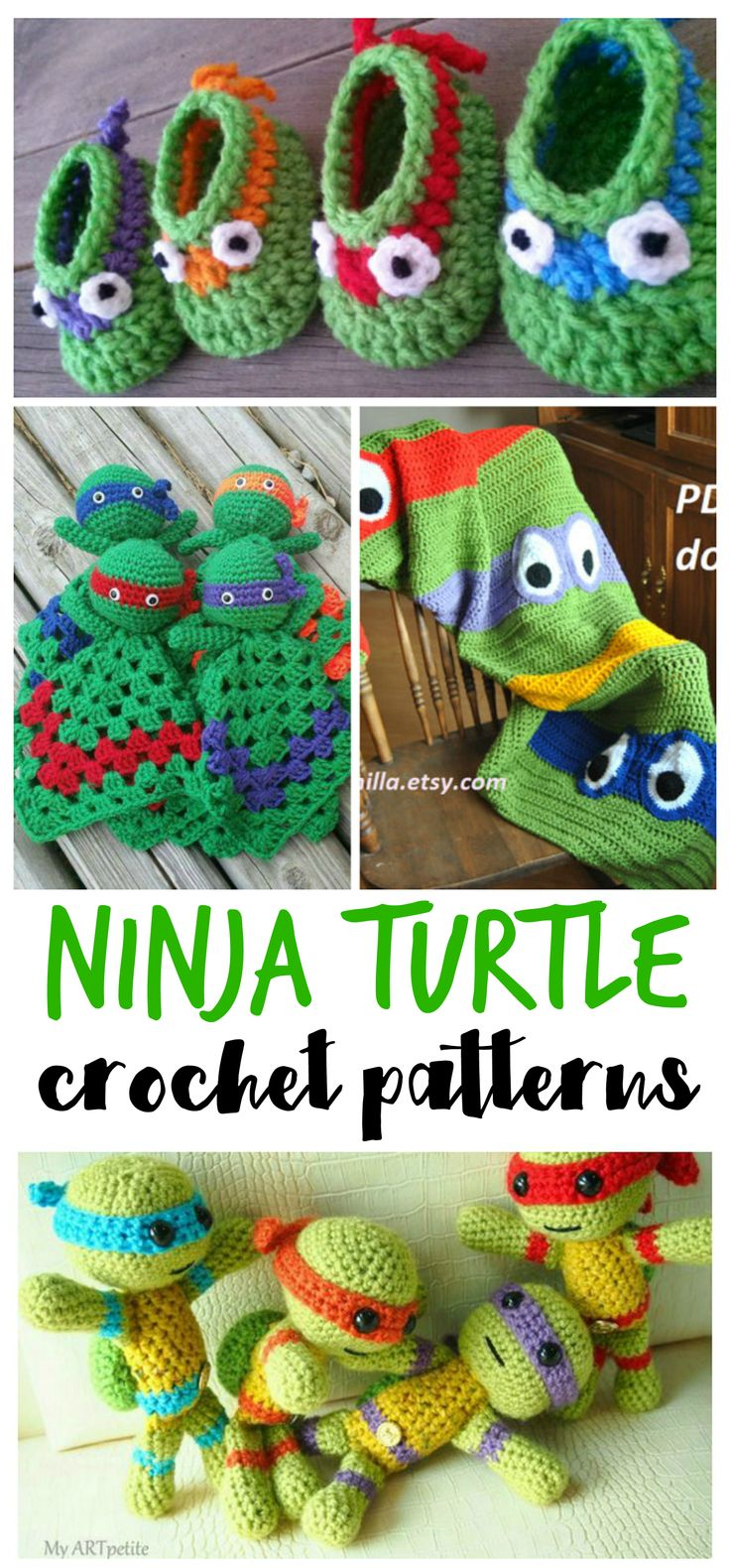 Such cute ninja turtle crochet patterns! Most are free!