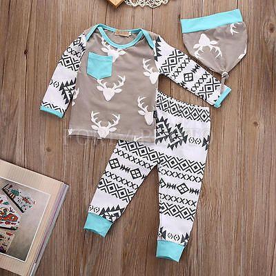 3pcs Infant Baby Girl Boy Deer Print Top T-shirt+Leggings Pants +Hat Set Clothes