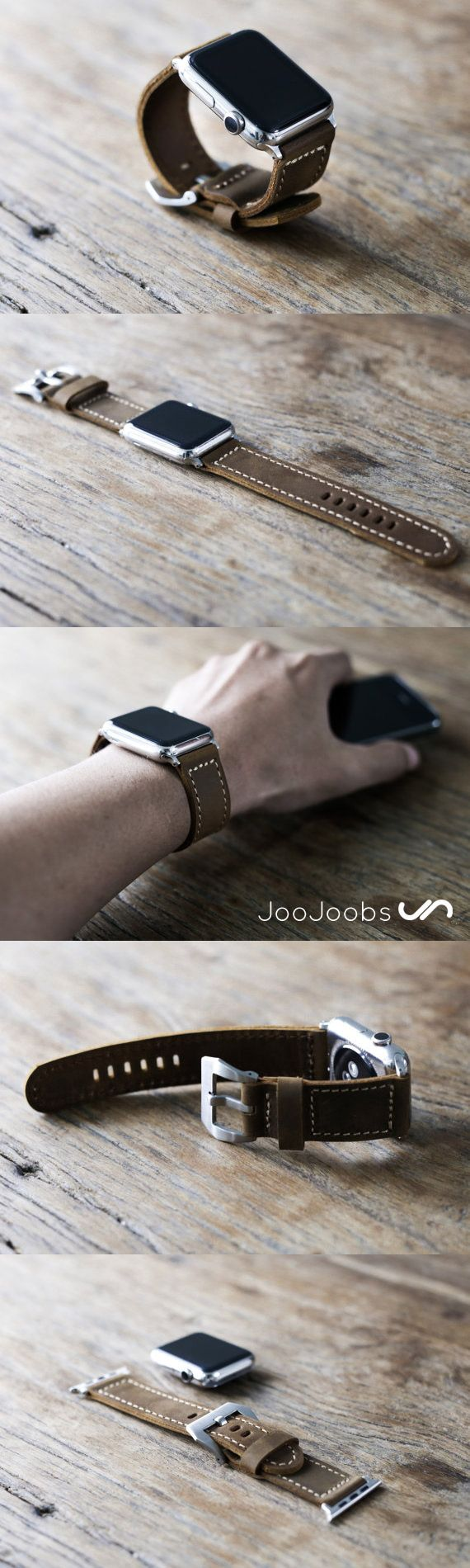 Checkout this beautiful, handmade, rustic, leather apple watch strap by the fine folks at JooJoobs. Love it, love it, love it!!
