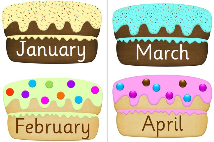 Birthday Month cakes and editable candles